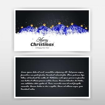 Diseño de tarjeta de navidad con diseño elegante y fondo negro v.