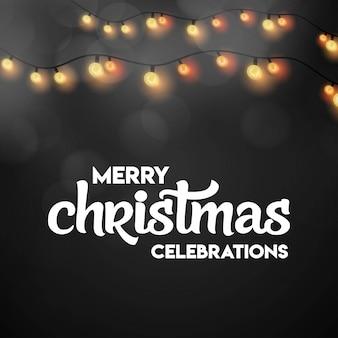 Diseño de tarjeta de navidad con diseño elegante y fondo oscuro.
