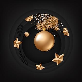 Diseño de tarjeta de navidad con elementos dorados