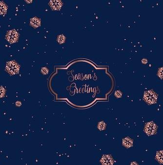 Diseño de tarjeta de navidad en oro rosa y azul.