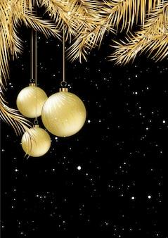Diseño de tarjeta navideña dorada y negra con adornos colgantes.