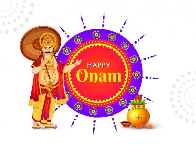 Diseño de tarjeta o cartel del festival happy onam