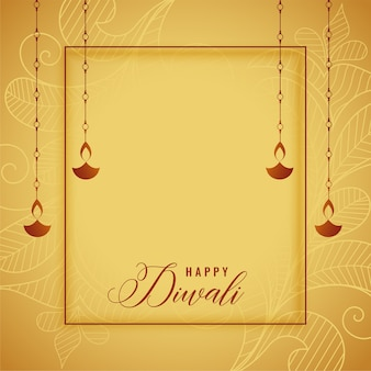 Diseño de tarjeta de oro feliz diwali con diya