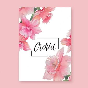 Diseño de tarjeta de orquídea rosa