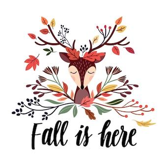 Diseño de tarjeta de otoño con ciervos y letras a mano
