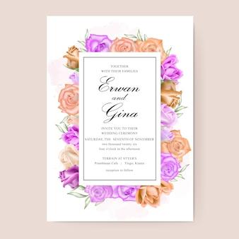Diseño de tarjeta de plantilla de invitación de boda con acuarela floral y hojas