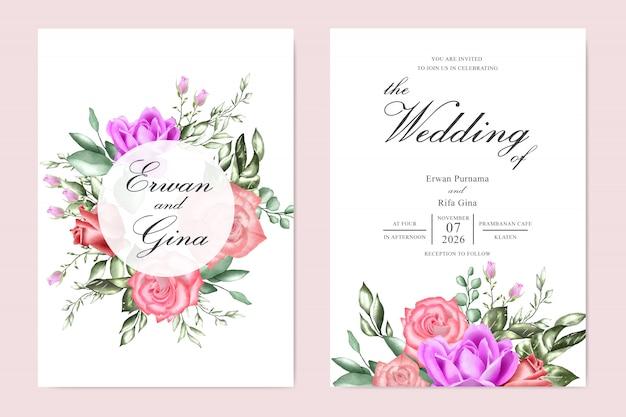 Diseño de tarjeta de plantilla de invitación de boda con acuarela floral