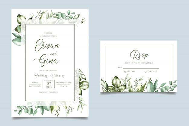 Diseño de tarjeta de plantilla de invitación de boda acuarela