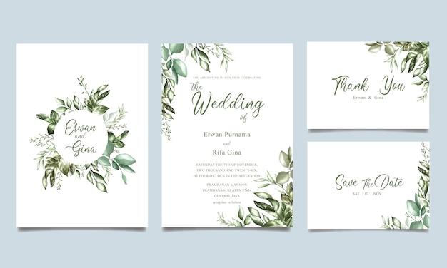 Diseño de tarjeta de plantilla de invitación de boda elegante