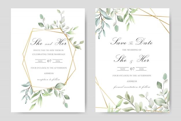 Diseño de tarjeta de plantilla de invitación de boda floral acuarela verde