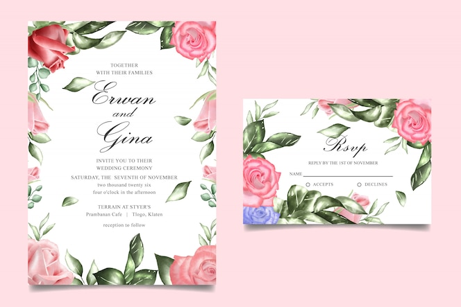 Diseño de tarjeta de plantilla de invitación de boda floral acuarela