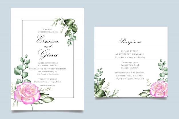 Diseño de tarjeta de plantilla de invitación de boda floral