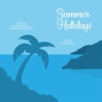 Diseño de tarjeta de playa hermosa en vector de verano