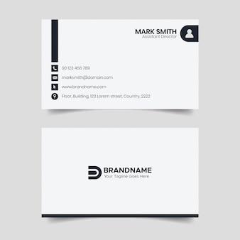 Diseño de tarjeta de presentación en blanco y negro, tarjeta de visita de estilo legal de bufete de abogados