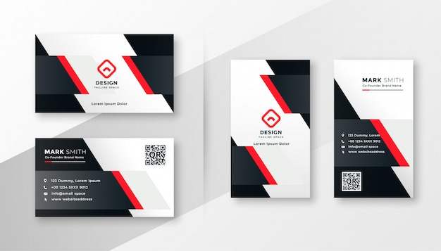 Diseño de tarjeta de presentación de empresa roja.