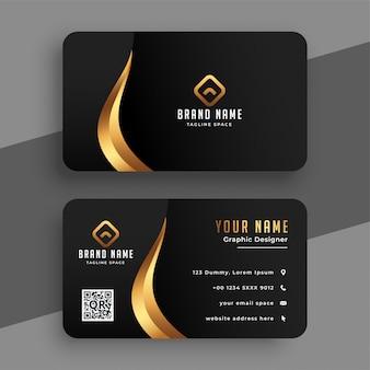 Diseño de tarjeta de presentación premium negro y dorado