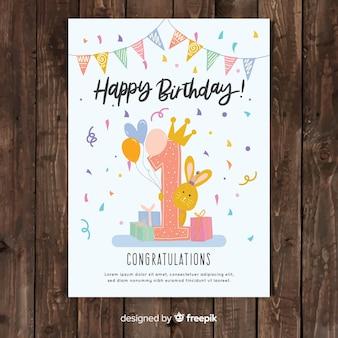 Diseño de tarjeta del primer cumpleaños