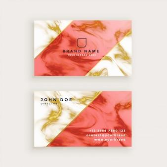 Diseño de tarjeta profesional en diseño de textura de mármol.