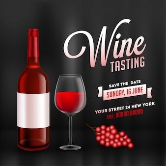 Diseño de tarjeta de promoción o plantilla de cata de vinos con botella de vino realista y vaso de bebida sobre fondo negro brillante.