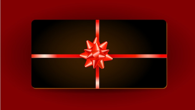 Diseño de tarjeta de regalo con lazo rojo de cinta y regalo aislado en rojo