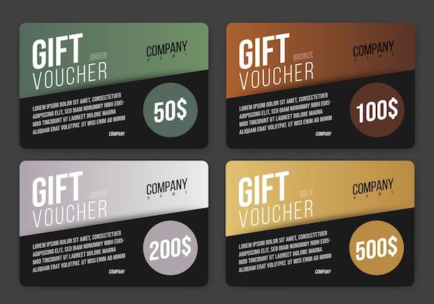 Diseño de tarjeta de regalo de vector en negro con fondo poligonal abstracto coloreado. plantilla de vales con elementos redondos y semicirculares.
