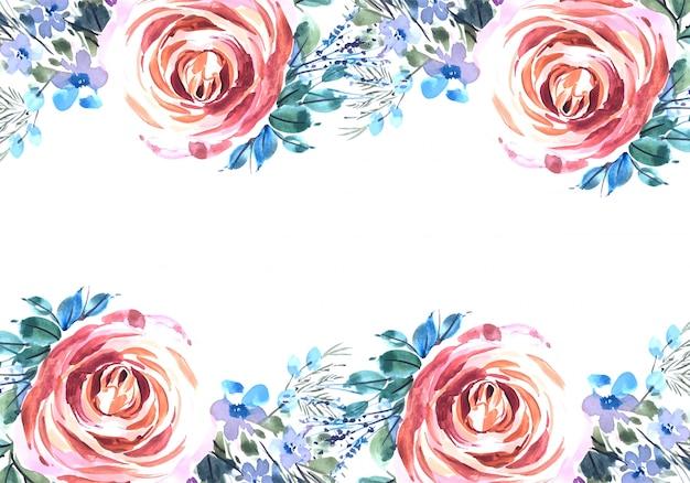Diseño de tarjeta de rosas decorativas de acuarela