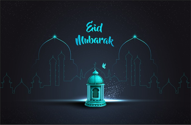 Diseño de tarjeta de saludo islámico eid mubarak con hermosa linterna azul