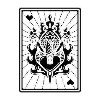 Diseño de tarjeta de tarot de tatuaje tradicional de serpiente