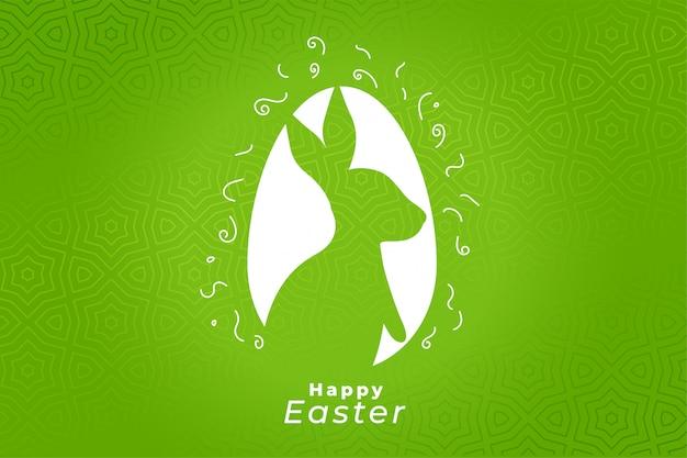 Diseño de tarjeta verde feliz celebración del festival de pascua