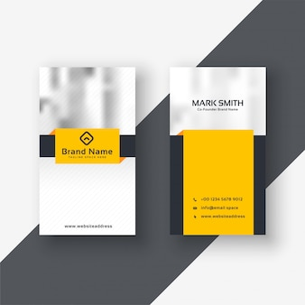 Diseño de tarjeta de visita amarilla moderna