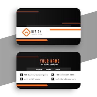Diseño de tarjeta de visita en color naranja y negro.