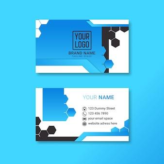 Diseño de tarjeta de visita corporativa con doble cara para publicidad.