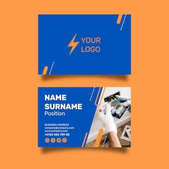 Diseño de tarjeta de visita de doble cara de electricista.