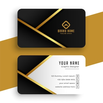 Diseño de tarjeta de visita dorada moderna