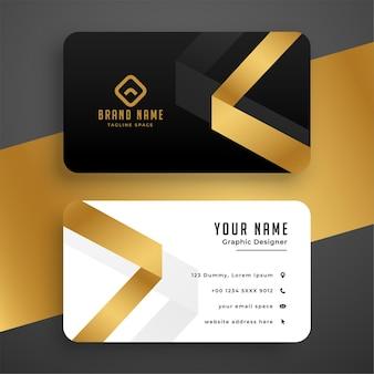Diseño de tarjeta de visita dorada premium limpia