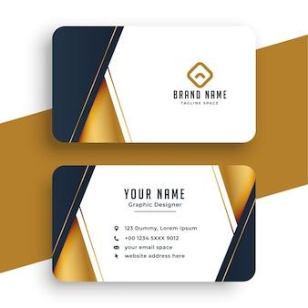 Diseño de tarjeta de visita en estilo dorado.