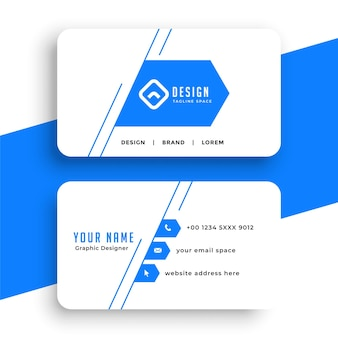 Diseño de tarjeta de visita de estilo de línea azul simple