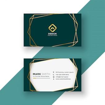 Diseño de tarjeta de visita con estilo con marco dorado