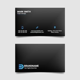 Diseño de tarjeta de visita de estilo tecnológico plantilla de tarjeta de visita azul y negra