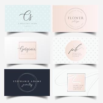 Diseño de tarjeta de visita femenina con logo editable.