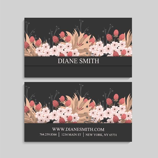 Diseño de tarjeta de visita floral