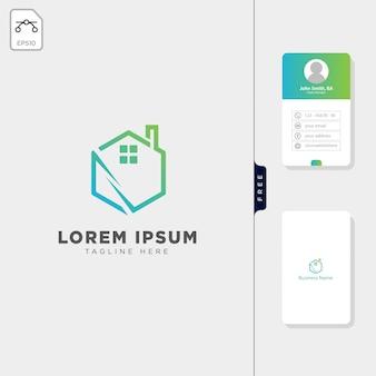 Diseño de la tarjeta de visita gratuita de la plantilla de logotipo de bienes raíces hexagonal