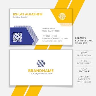 Diseño de tarjeta de visita limpia amarilla y azul