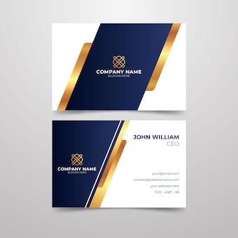 Diseño de tarjeta de visita con líneas doradas