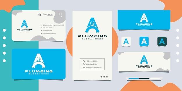 Diseño de tarjeta de visita de logotipo de diseño de fontanería