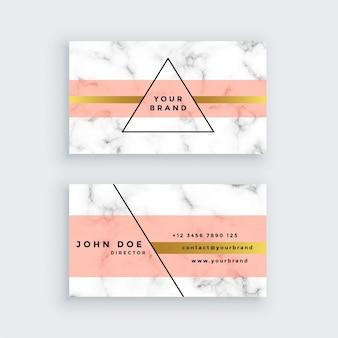 Diseño de tarjeta de visita de mármol premium en estilo minimalista