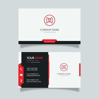 Diseño de tarjeta de visita moderna en blanco con detalles en rojo y negro, plantilla profesional de diseño elegante