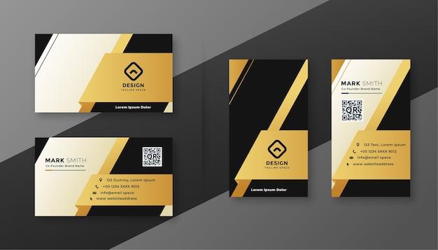 Diseño de tarjeta de visita moderna en blanco y negro y dorado