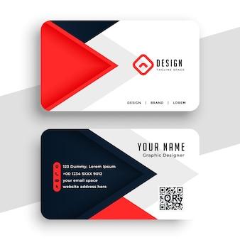 Diseño de tarjeta de visita moderna roja y negra.