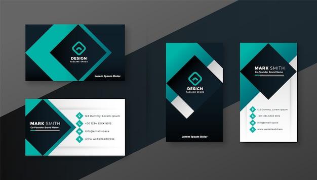 Diseño de tarjeta de visita moderna turquesa geométrica